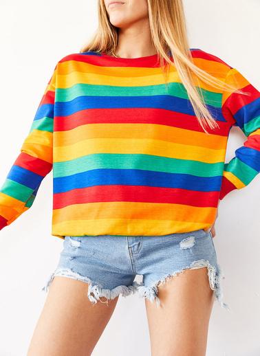 XHAN Multi Çizgili Sweatshirt 0Yxk8-43987-37 Renkli